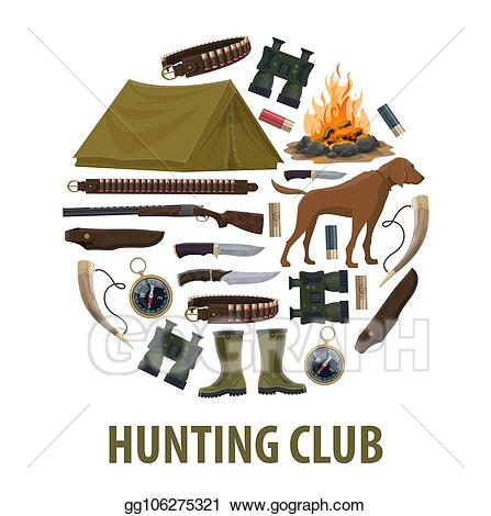 Hunter clipart hunting equipment. Vector art club poster