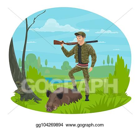 Vector stock with rifle. Hunter clipart huntsman