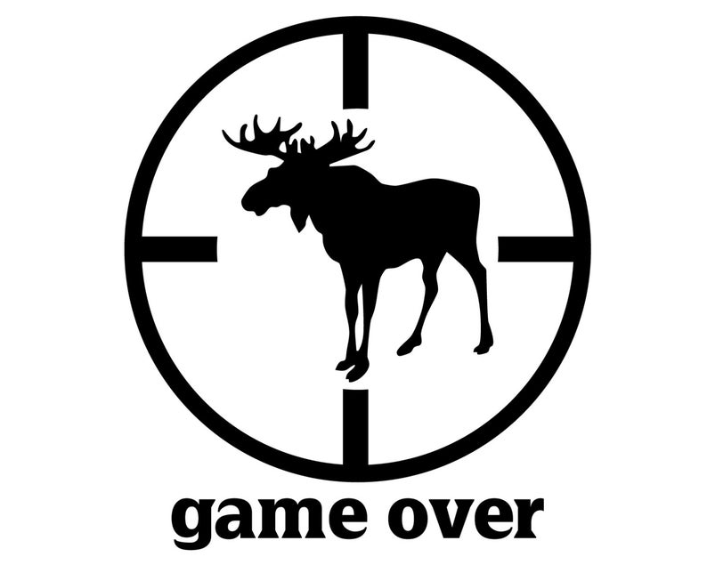 Hunter clipart moose hunting. Vinyl decal game over