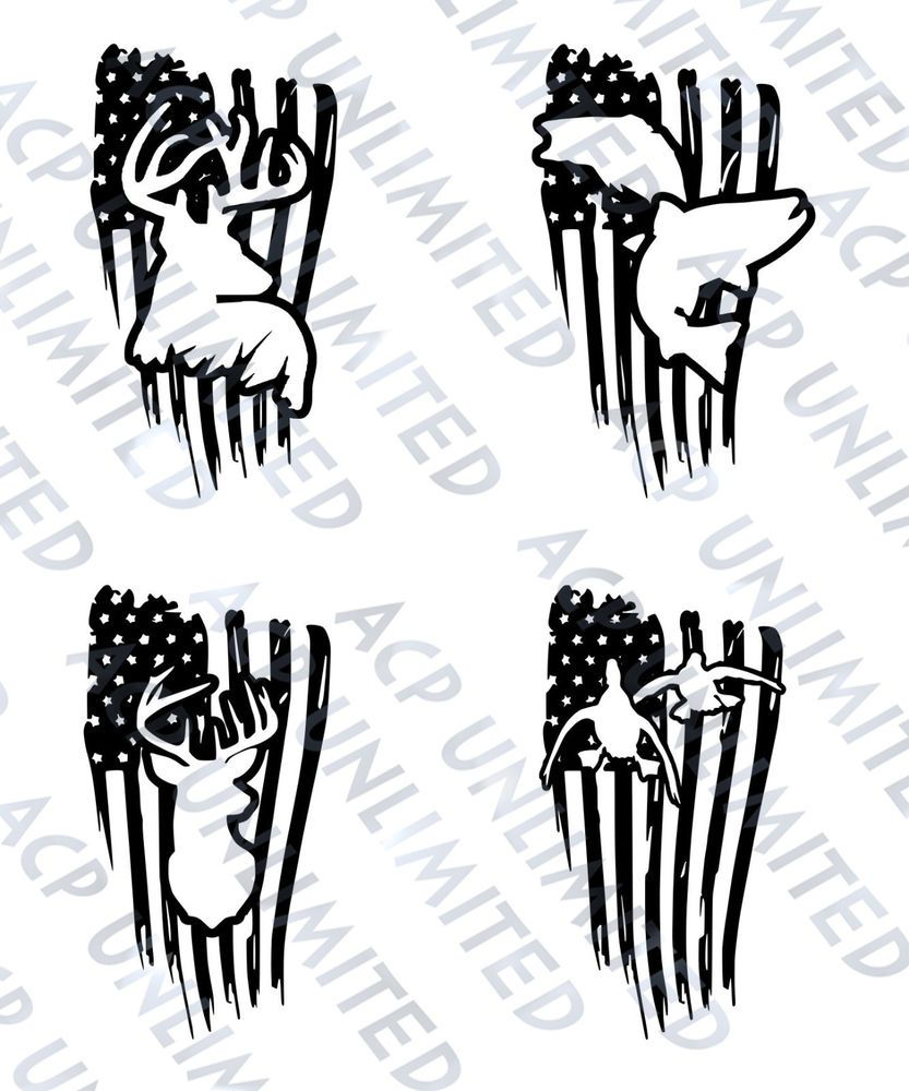 Distressed flag decal sticker. Hunting clipart outdoorsman