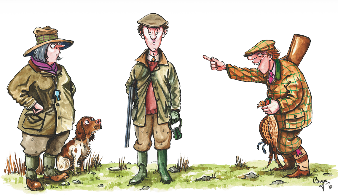 Hunter clipart pheasant shooting. Bryn parry studios the
