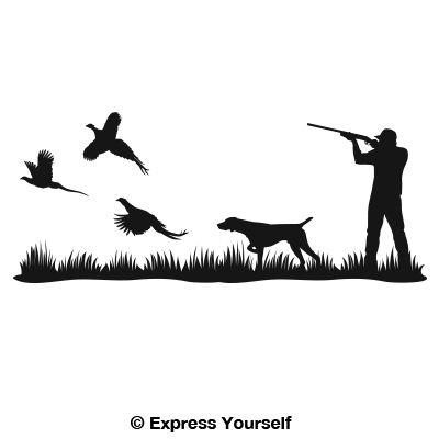 Heaven pointer mural decal. Hunter clipart pheasant shooting