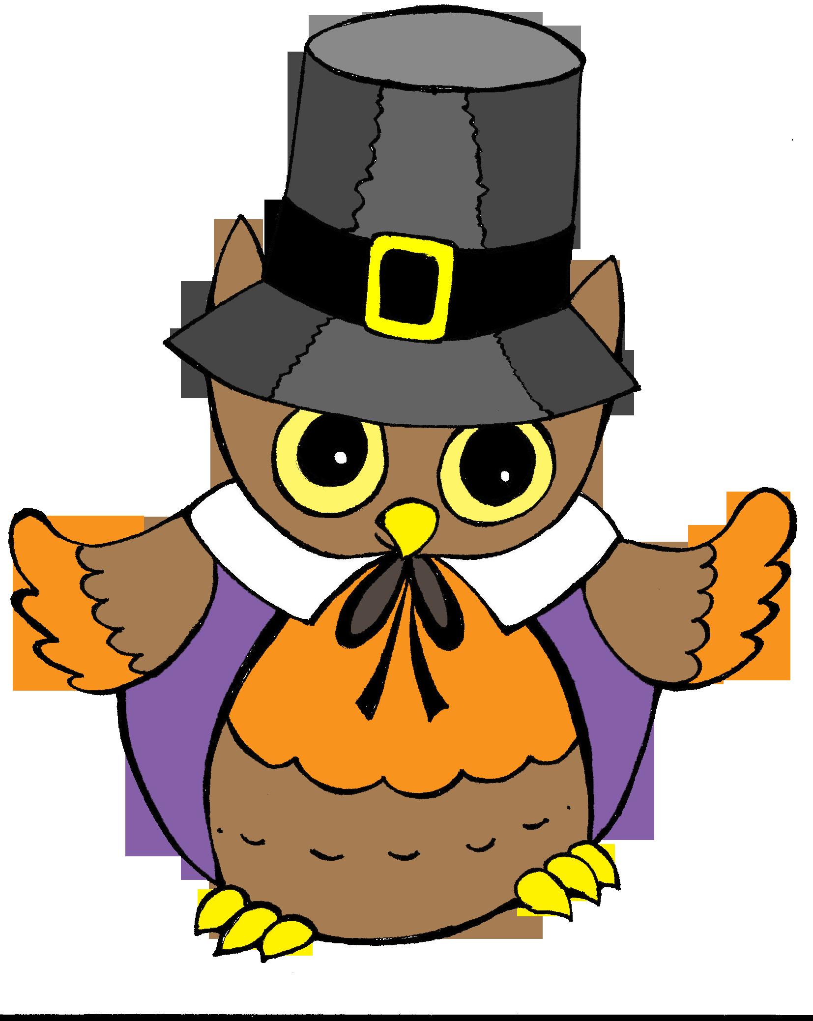 Owl thanksgiving clip art. Hunter clipart pilgrim