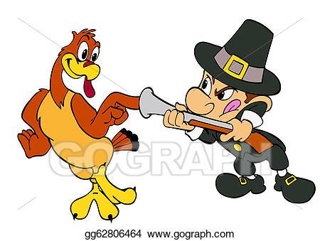 Stock illustrations thanksgiving turkey. Hunter clipart pilgrim