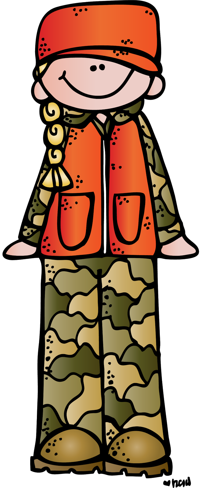 Woman little boy and. Hunting clipart camo hunter