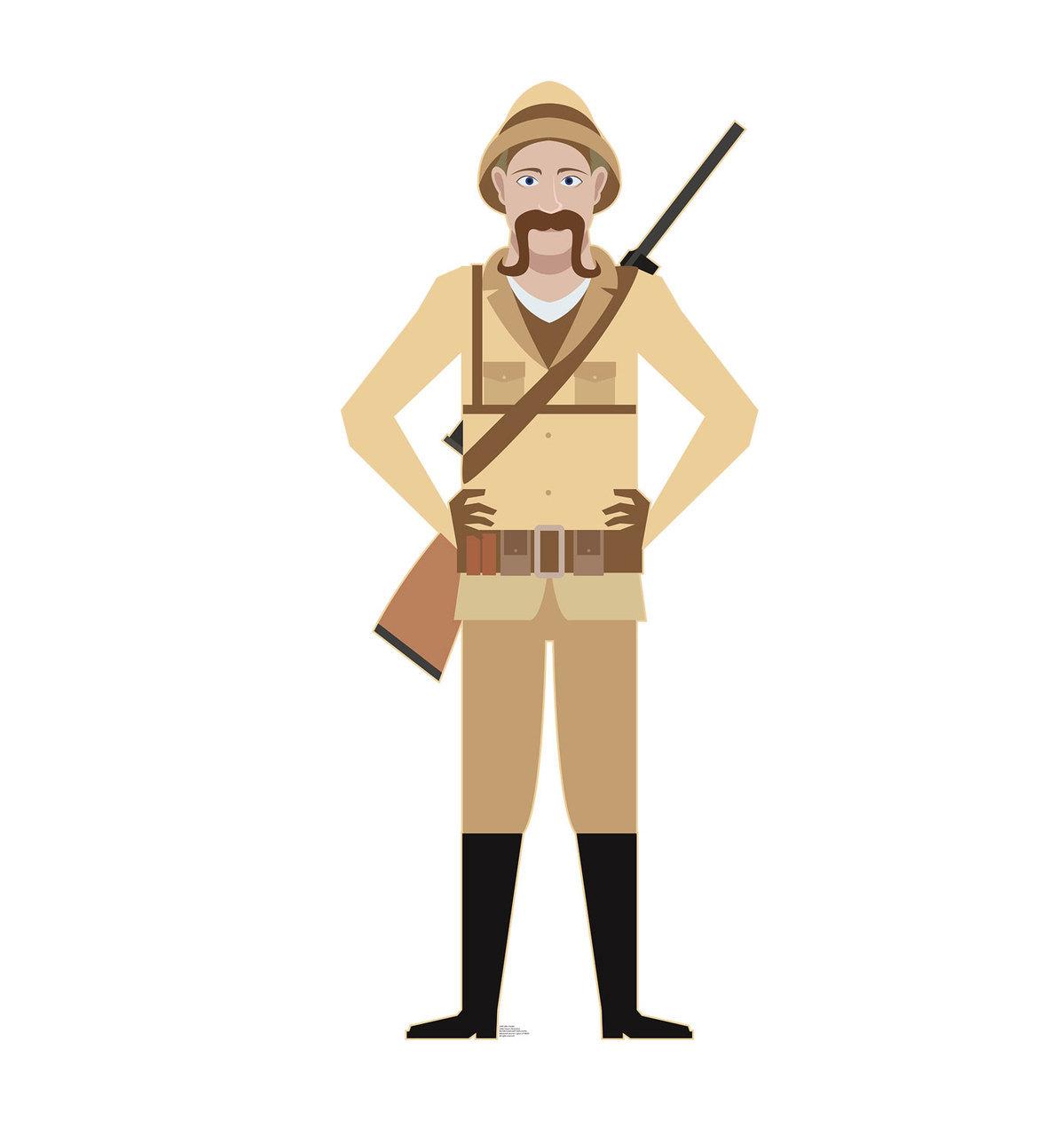 Cardboard cutout . Hunter clipart safari hunter