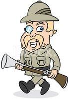 Happy cartoon walking stock. Hunter clipart safari hunter