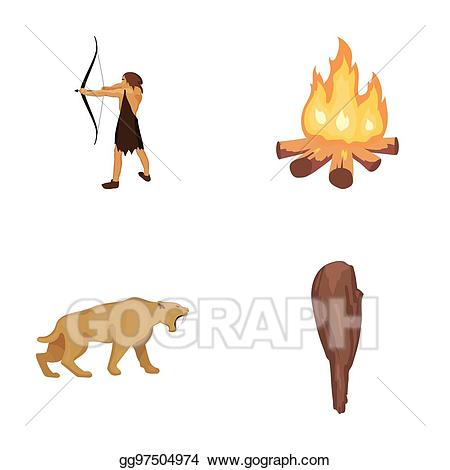 Man onion bonfire set. Hunter clipart stone age