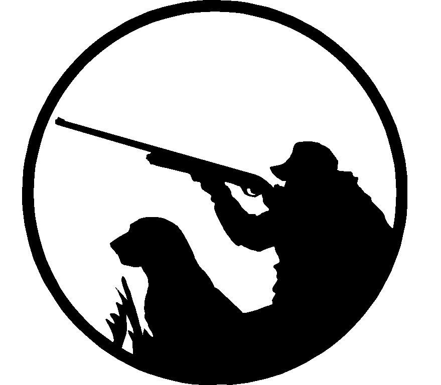 Silhouettes hunter with dog. Hunting clipart two