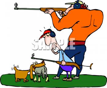 Cartoon grass hunting deer. Hunter clipart two