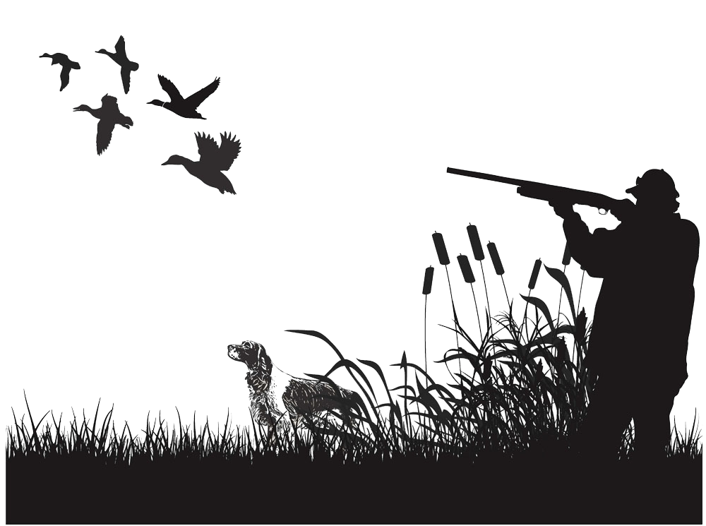 Duck mural wall decal. Hunter clipart waterfowl hunting