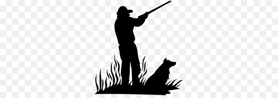 Dog silhouette black . Hunter clipart waterfowl hunting