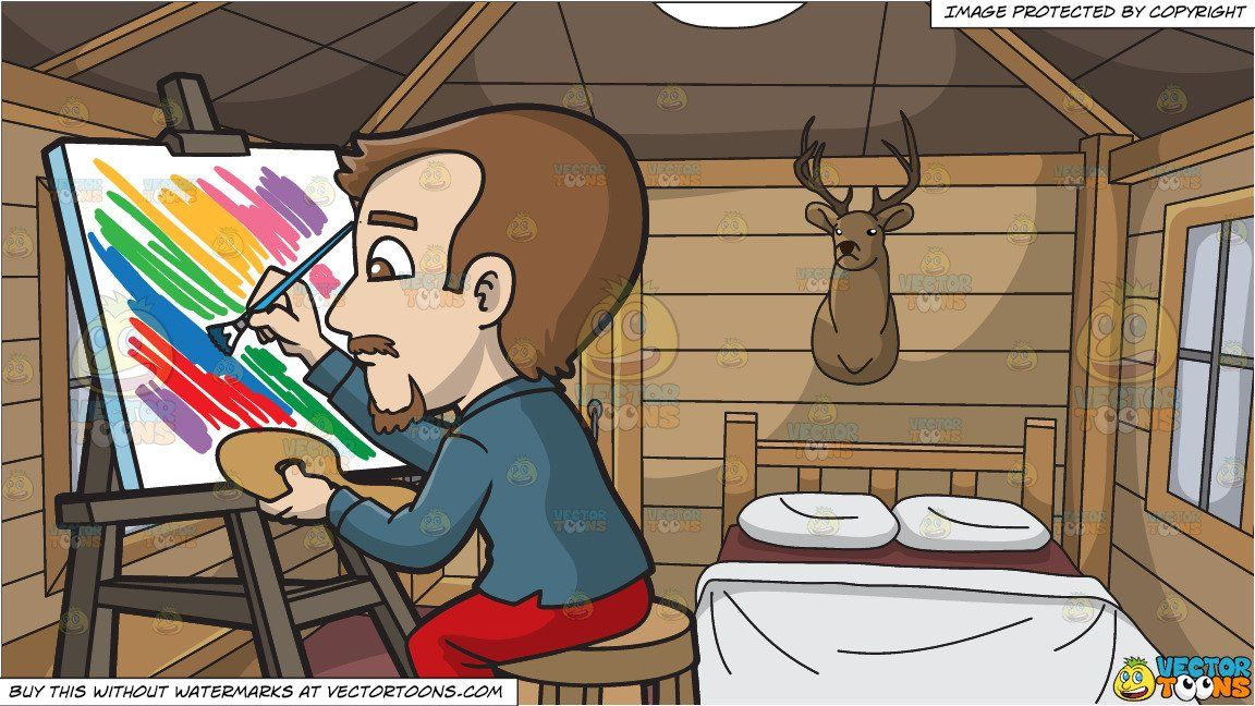 Cartoon a man painting. Hunting clipart abstract