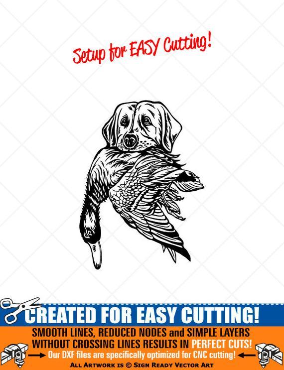 Duck dog vector clip. Hunting clipart artwork