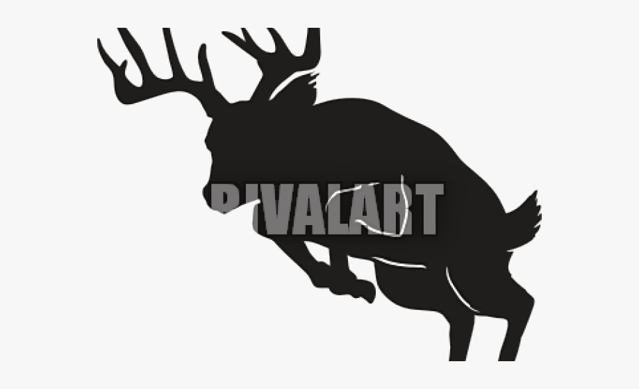 Deer jumping fence silhouette. Hunting clipart big buck