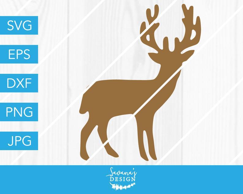 Deer svg reindeer silhouette. Hunting clipart christmas