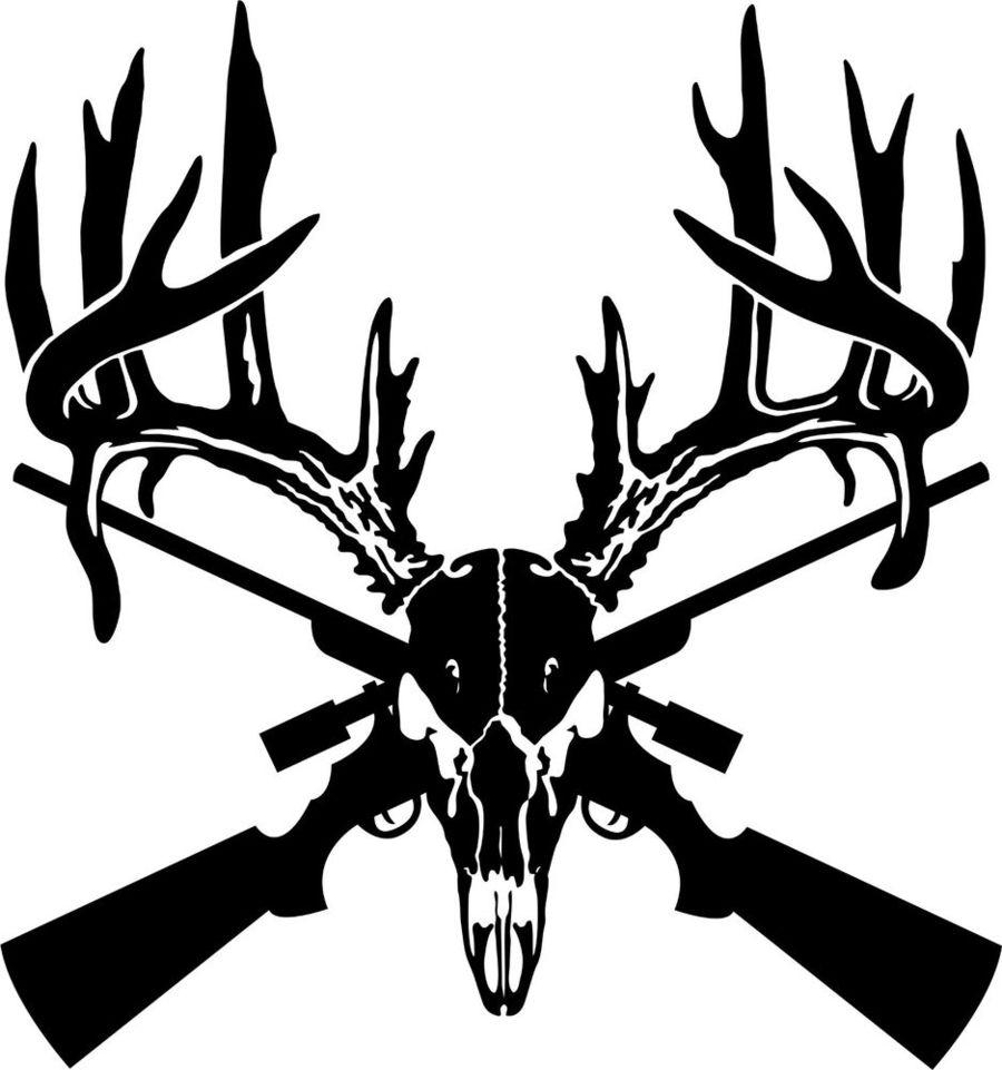 Download deer skull sticker. Hunting clipart decal