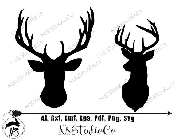 Svg file vector files. Hunting clipart deer head
