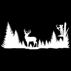 Silhouettes vectors svg templates. Hunting clipart deer tree