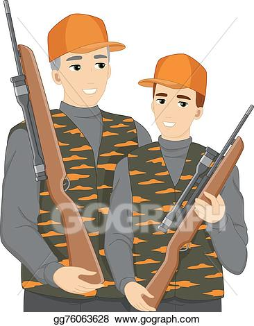 Eps vector dad stock. Hunting clipart father and son