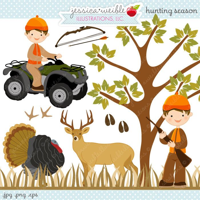 Season cute digital commercial. Hunting clipart forest