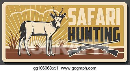Eps vector safari banner. Hunting clipart gazelle