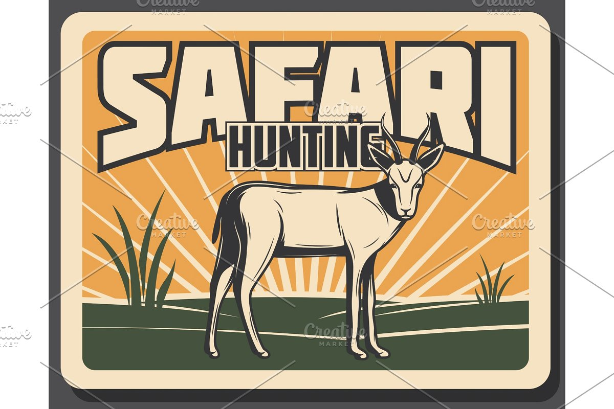 Hunting clipart gazelle. Safari banner with antelope