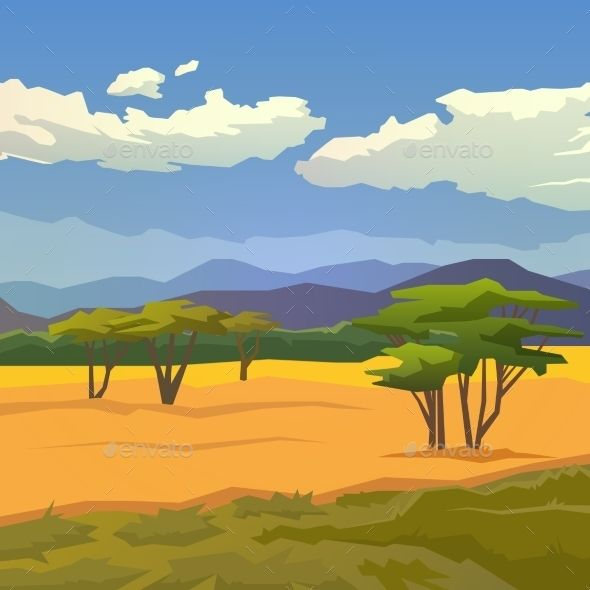 Savannah with mountains background. Hunting clipart landscape