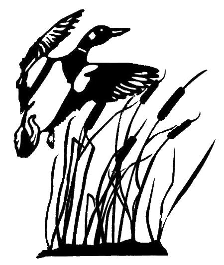 Duck silhouette panda free. Hunting clipart line art