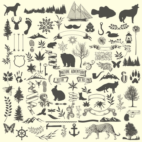 Hunting clipart nature. Camping animal rustic tree