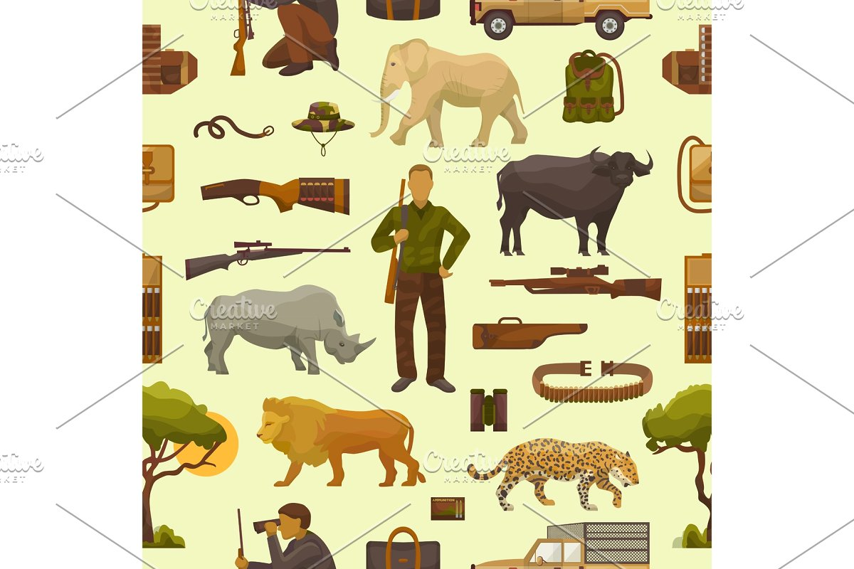 Hunt vector hunterman character. Hunting clipart safari hunter