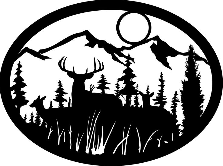 Free deer scene cliparts. Hunting clipart scenery