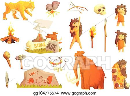 Vector art life primitive. Hunting clipart stone age man