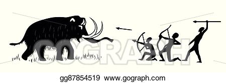 Vector art cave paintings. Hunting clipart tribal