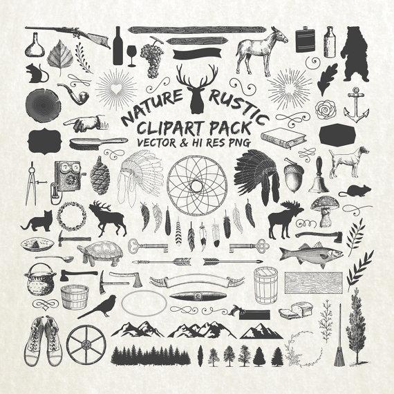 Rustic pack lumberjack nature. Hunting clipart vector element