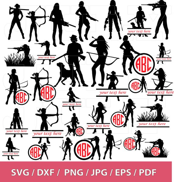 Hunting clipart woman hunter. Svg eps dxf warrior