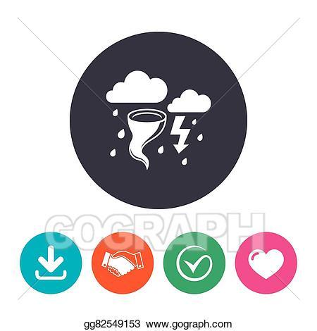 Vector art weather sign. Hurricane clipart bad storm
