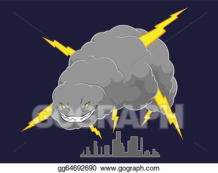 Vector storm cloud attacking. Hurricane clipart evil