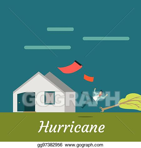 Hurricane clipart house damage. Vector art destroying and