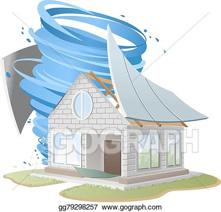 Vector stock roof of. Hurricane clipart house destroyed