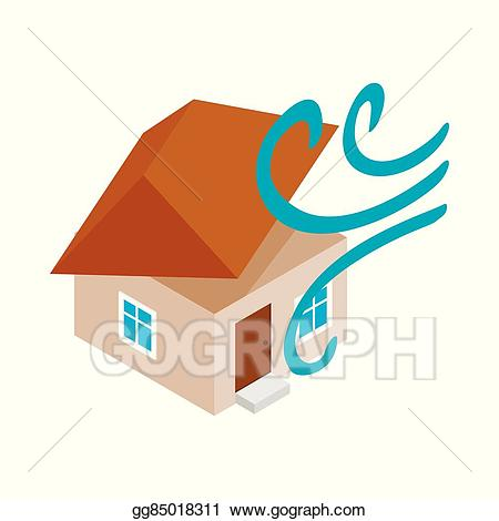 Hurricane clipart house destroyed. Vector illustration by icon