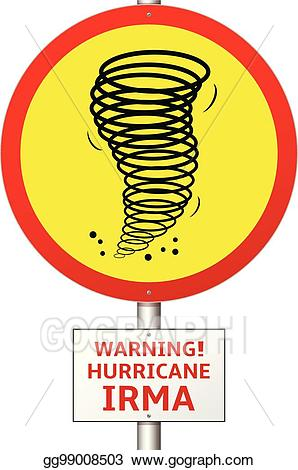 Eps vector road sign. Hurricane clipart irma