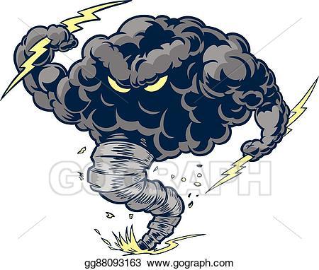 Vector angry tornado thunder. Hurricane clipart mascot