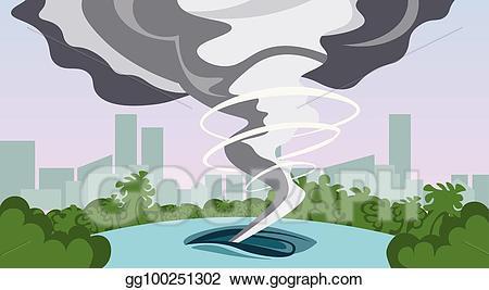 Hurricane clipart natural disaster. Vector tornado in countryside