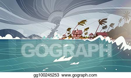 Hurricane clipart natural disaster. Vector tornado incoming from