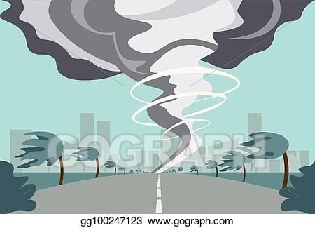 Hurricane clipart twister. Vector tornado in countryside
