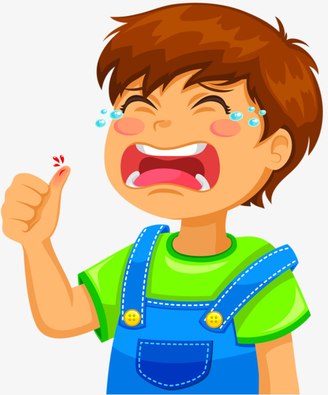 Crying boy finger tear. Hurt clipart