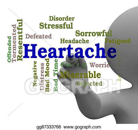 Heartache word represents worry. Hurt clipart agony