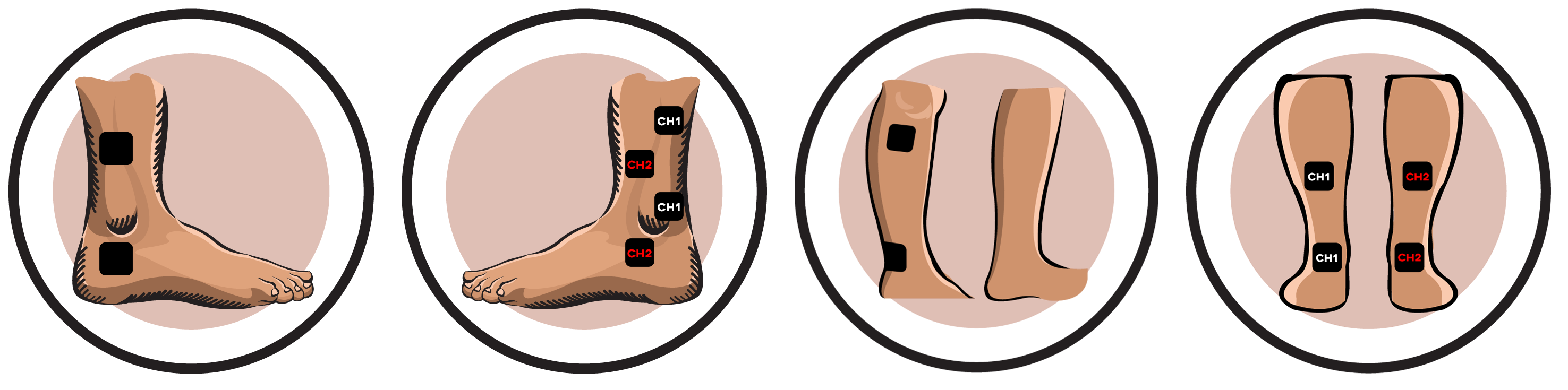 Electrode pad placement . Legs clipart ankle joint