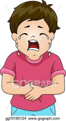 Hurt clipart belly ache. Vector stomach boy illustration